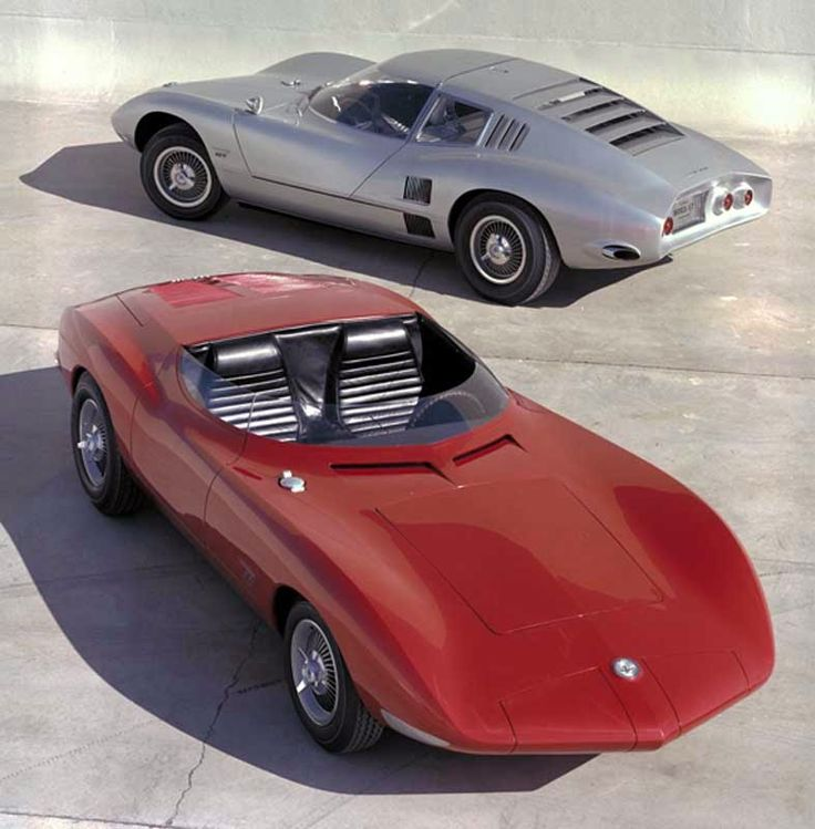 1962/63 Corvair Monza Concept Cars: The Chevrolet Corvair Monza SS with its sister coupe, the Monza GT. Their styling hinted at what was to come for the 1968 Corvette.