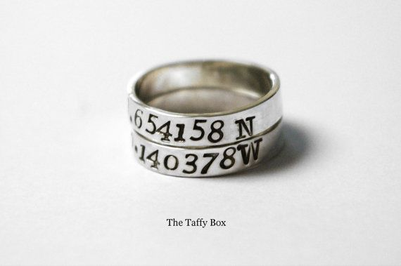 Longitude Latitude RIng Set - getting one for the place that holds my heart, Akron, OH