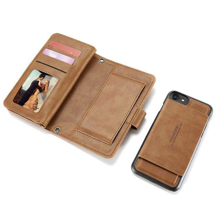 Sale 20% (13.99$) - 5.5 Inch Floveme Detachable Zipper Wallet Case For iPhone 7/6/6s Plus