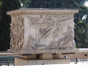 The Column of Antoninus Pius is a Roman honorific column in Rome, Italy, devoted in 161 to the Roman emperor Antoninus Pius, in the Campus Martius, on the edge of the hill now known as Monte Citorio, and set up by his successors, the co-emperors Marcus Aurelius and Lucius Verus.