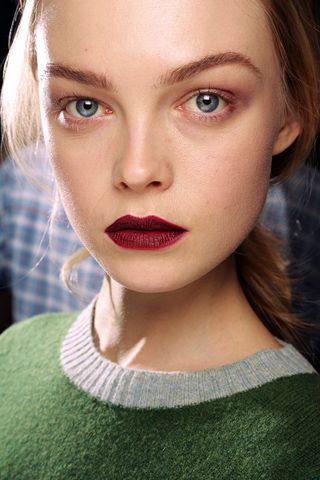 another gorgeous deep red/burgandy lip: