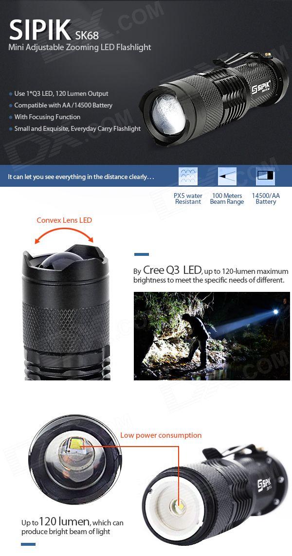 SIPIK SK68 120-Lumen Convex Lens LED Zooming Flashlight w/ Cree Q3-WC - Black (1*AA/14500) - Free Shipping - DealExtreme