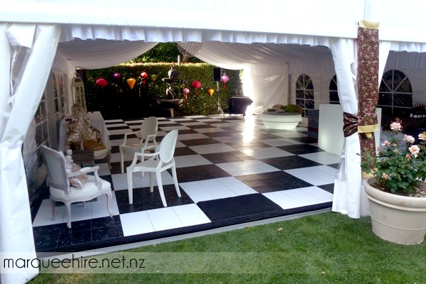 This marquee we did featured our checkerboard flooring and some amazing furniture and decor. We think it looked great! Marquee Hire NZ