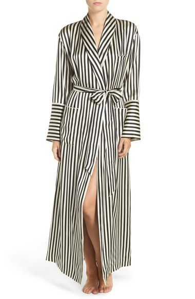 Olivia Von Halle Stripe Silk Robe available at #Nordstrom