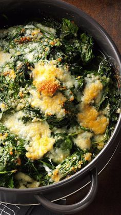 Spinach-Parm Casserole from Taste of Home features fresh spinach with garlicky butter and Parmesan