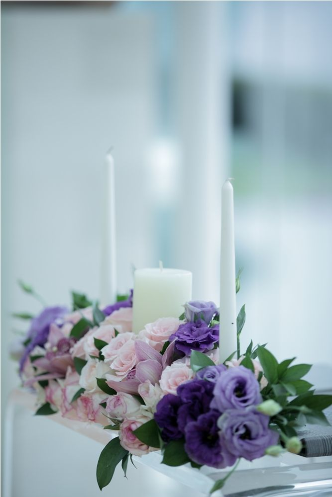 Purple Lisianthus, pink Rose and mauve Cymbidium - altar table by Tirtha Bridal Uluwatu Bali