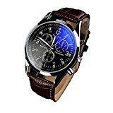 #9: relojes de hombre baratos Switchali relojes de hombre deportivos Reloj analógico de cuarzo para caballero de lujo de la manera de cuero de imitación Blue Ray cristal de cuarzo (Marrón)