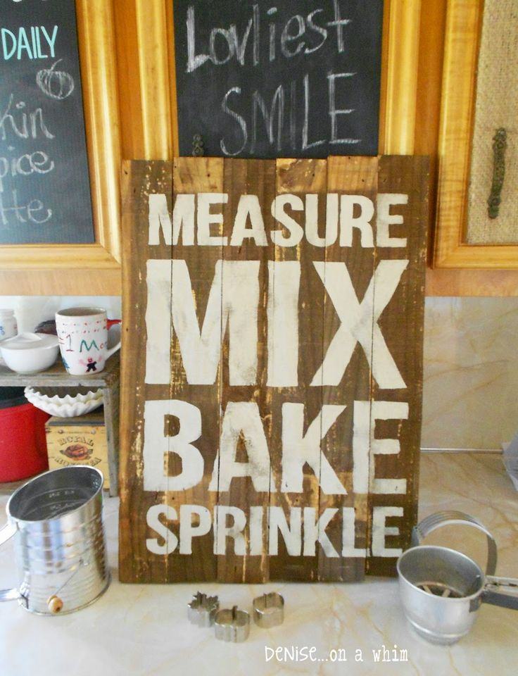 Rustic Baking Sign made from a Packing Crate from Denise on a Whim