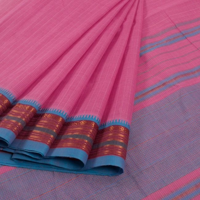 Buy online Handwoven Pink Narayanpet Cotton Saree With Checks, Zari Border & Without Blouse 10013294
