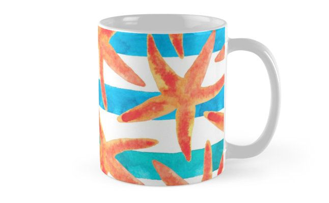 Starfish summer pattern. • Also buy this artwork on home decor, apparel, stickers, and more. Starfish watercolor deisgn. Summer inspired. @redbuble #nautical #orange #starfish #ocean #surf #life #redbubble #redbubbleartist #design #watercolor #mug #beach