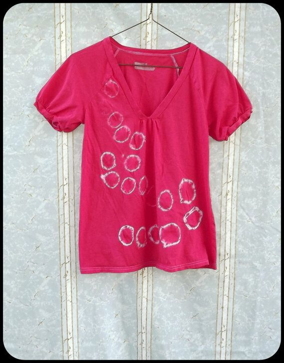 Shibori Blouse  Hand Dyed  Women's Small  Red by GraceAtieno, $25.00