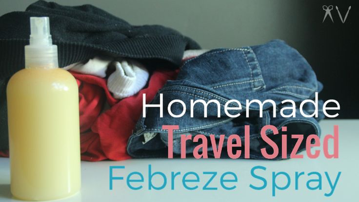 "How To Make Homemade Travel-Sized ""Febreze"" Spray http://avdoeswhat.com/how-to-make-homemade-travel-sized-febreze-spray/"