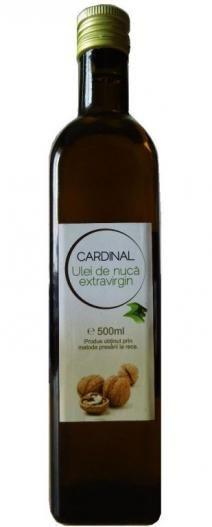 Ulei de nuca 500ml in ambalaj de sticla - 2e-prod.ro  Cardinal – ulei presat l arece extravirgin de nuca este un ulei 100% natural, ulei presat la rece din miez de nuca uscat, cu o aroma fina de nuca, perfecta pentru dressing-uri, sau pentru a asezona peste sau fripturi, si chiar pentru deserturi.
