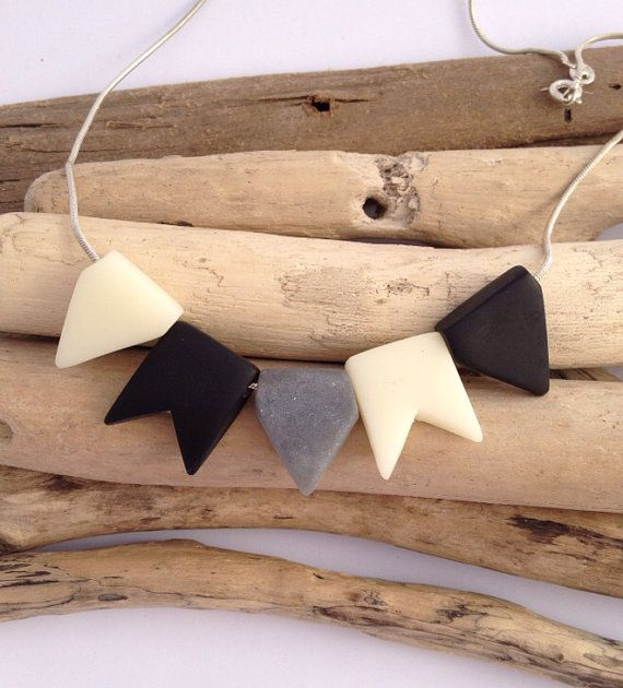 Black, cream and grey bunting necklace on sterling silver chain