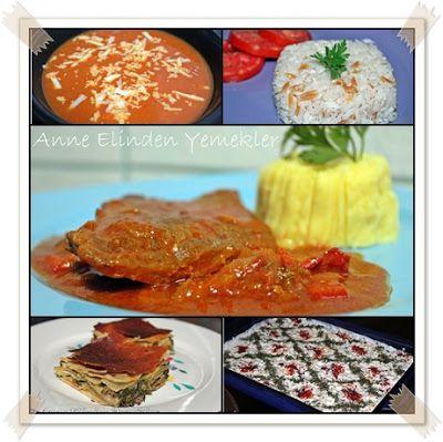 Közlenmiş Kırmızı Biber Çorbası Şehriyeli Pirinç Pilavı Domates Soslu Biftek Ve Patates Püresi Ispanaklı Kıymalı Açma Börek Yoğurtlu Buğday Salatası