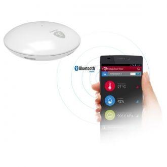 Smart Weather Station  Czujnik temperatury powietrza, wilgotności i ciśnienia z połączeniem Bluetooth.  Całkowicie bezprzewodowy  Urządzenie obsługiwane przez Bluetooth 4.0 Low Energy i zasilane 2 bateriami AAA nie wymaga żadnego połączenia przewodowego. Ponad rok działania na standardowym zestawie baterii.