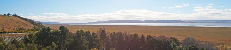 Northern view from Weereewa Lookout over Lake George showing dry bed in foreground