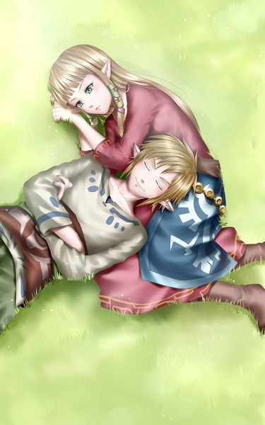 Zelda and Link relaxing with each other. I'm a pushover for cute things like this if it wasn't obvious before :)