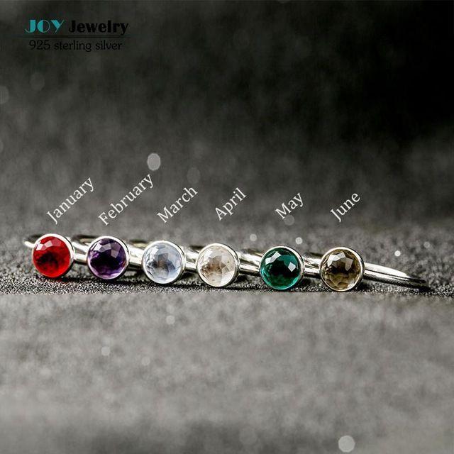 12 Цвета Стерлингового Серебра 925 Камень Кольца Для Женщин Цветочные Граней Кристалла Каменной Палец Кольцо День Рождения Подарки Ювелирные Изделия