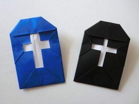 ハロウィン折り紙★十字架 Cross Origami - YouTube