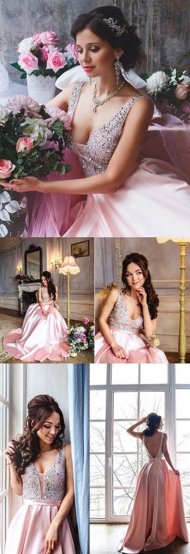 Princess Sequins Pink Long Prom Dress Party Dress LP273