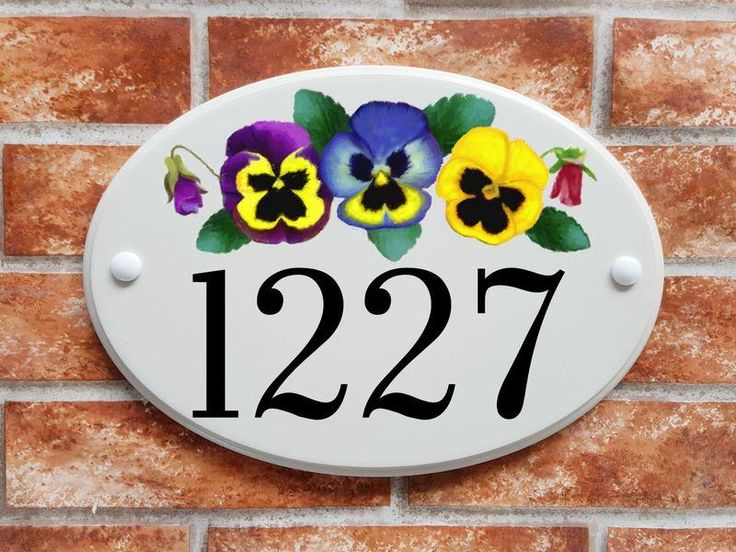 Pansy printed house number sign (code 006)
