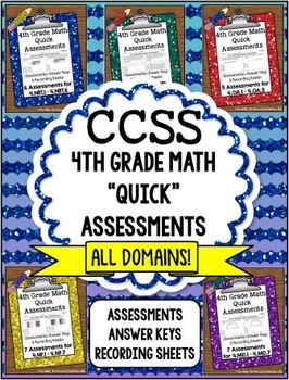 """Get """"Quick"""" Common Core Assessments for 4th grade math! I designed these assessments to be a quick and easy way to help keep track of my students' progress. I wanted to be able to assess each standard easily and quickly. The sole purpose of this resource was to guide my review at the end of the year.  *Get all 5 at one time and save $5.00! Get one free when you purchase the bundle! Put all assessments into a binder and use year after year…"""