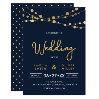 Elegant Blue Strings of Lights Wedding Invitation - chic design idea diy elegant beautiful stylish modern exclusive trendy