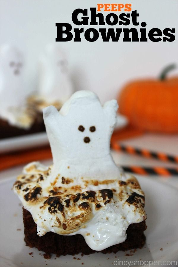PEEPS Ghost Brownies Recipe. A Perfect Halloween Dessert. Spooky and cute too!