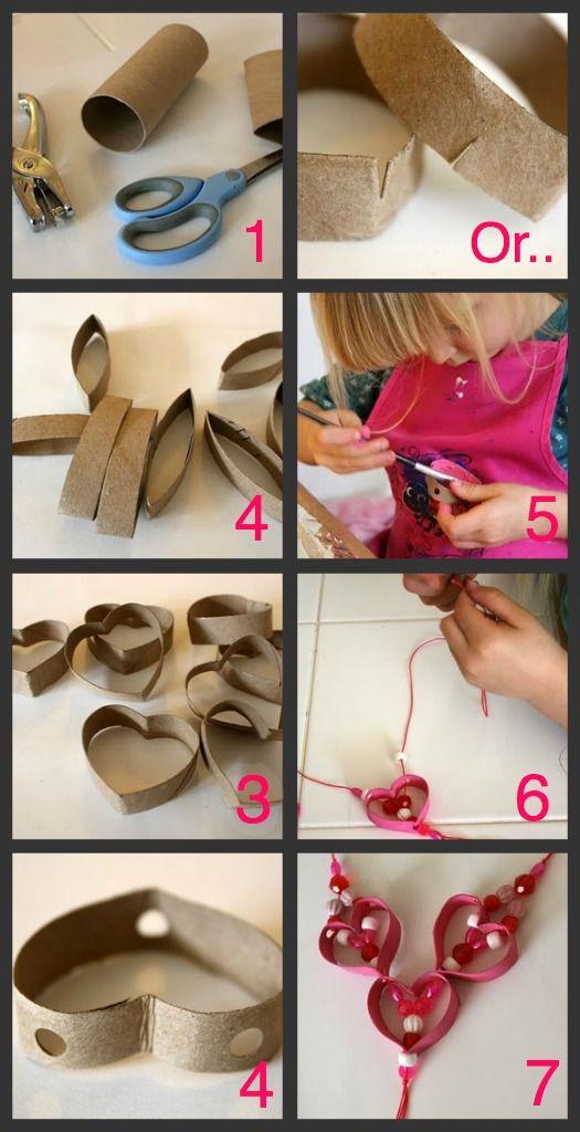 DIY Children's Cardboard Rol Necklace. Crafts for Kids. Cute