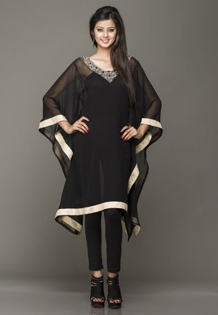 Black Viscose Georgette Readymade Kaftan
