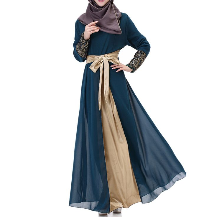 Muslim Long Dress Splicing Chiffon indigo