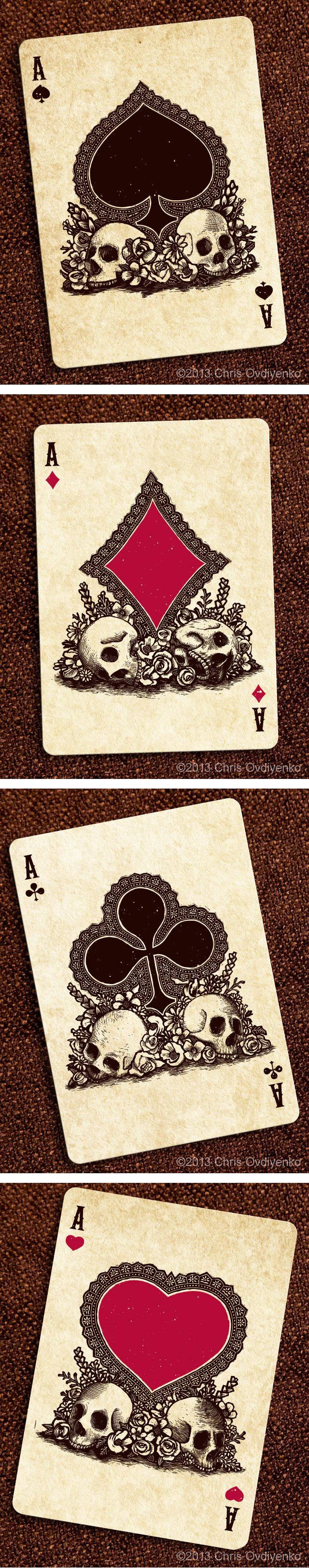 A♠ A♦ A♣ A♥ Calaveras — Playing cards inspired by the Day of the Dead by Chris Ovdiyenko