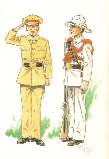 GUARDIA COLONIAL DEL GOLFO DE GUINEA.1935 Recluta europeo en uniforme de diario para paseo - Recluta europeo en uniforme de gala.