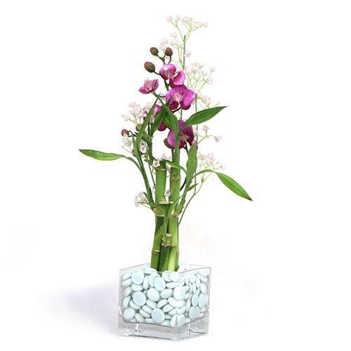 bamboo arrangement ideas | Lucky Bamboo Arrangement - Silk Flower Accents