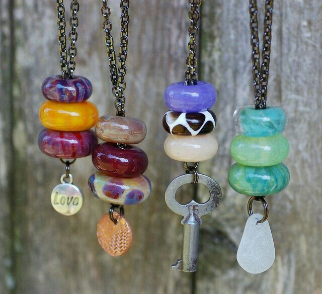 Cord or Chain Pendants with Found Objects, Stone Discs, Pandora-Style Beads . . . #Assemblage #Stash
