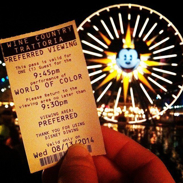 If you want to catch the renowned World of Color show at California Adventure, consider taking part in World of Color Dining. This program gives you reserved seats for the show in exchange for buying a meal at one of three restaurants in the park, so it's a great option for guests who didn't bring a meal from home.