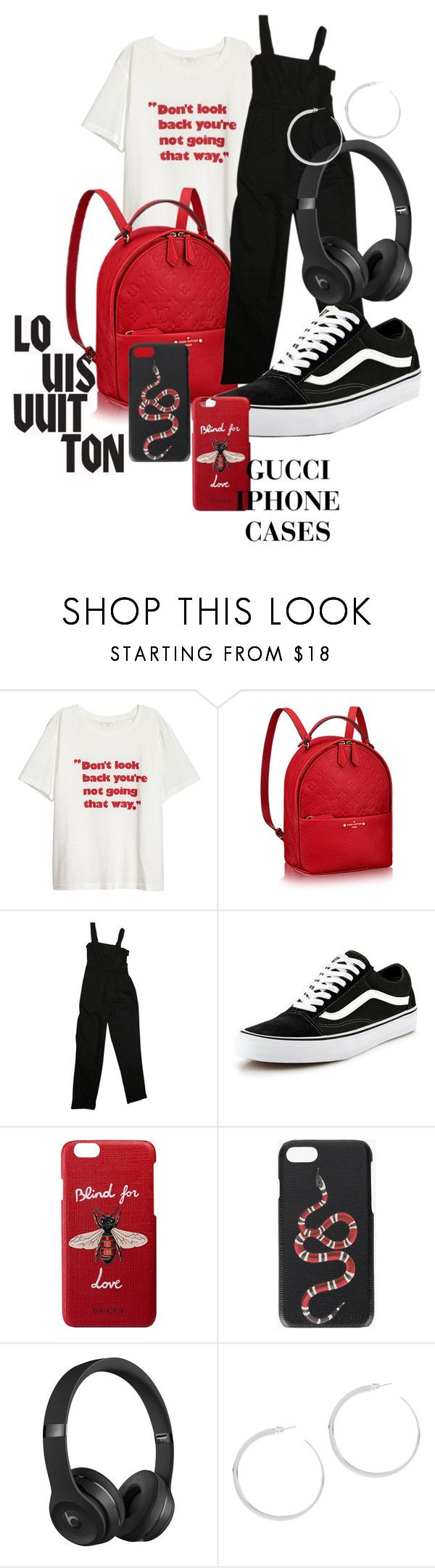 """""""Red and black 🖤❤️"""" by sheilaroset ❤ liked on Polyvore featuring Louis Vuitton, ASOS, Vans, Gucci and Beats by Dr. Dre"""