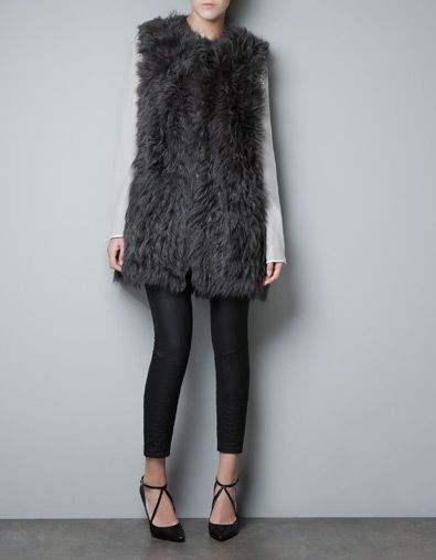 This fur waistcoat from Zara would look extra luxe with a pile of our jewels (think rich hues of burgundy, navy, and violet!)