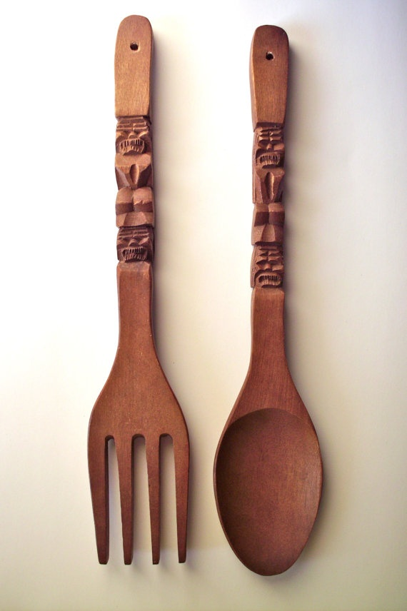Giant Tiki Souvenir Teak Fork And Spoon by PoorLittleRobin on Etsy, $22.00