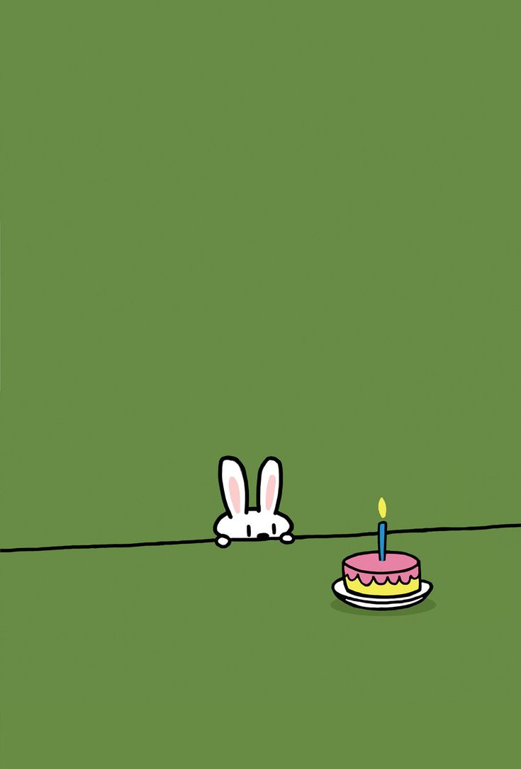 Green Background Bunny Birthday Card. $3.50, via Etsy.