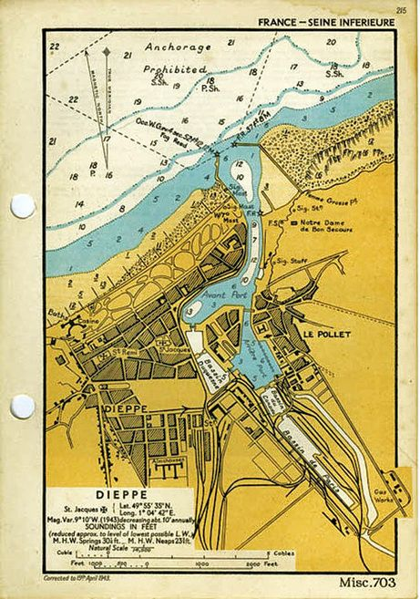 This is a naval chart dated April 15, 1943 of Dieppe and its beach, promenade and harbour. The Calgary Tanks attacked at Red and White Beaches. Red Beach was to the far right of the beach near the harbour jetty, while White Beach faced the casino to the left. (Rob Alexander collection)