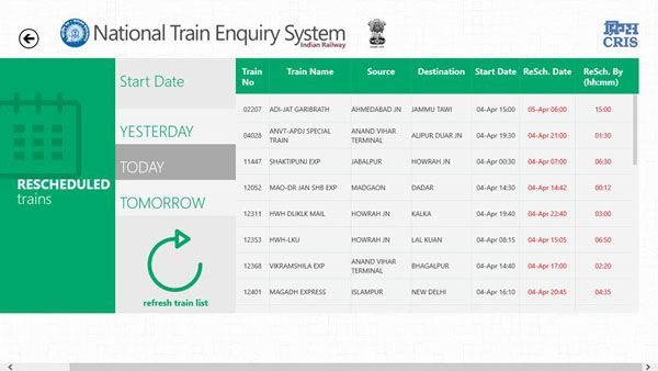 National Train Enquiry System (NTES) app launches on Windows 8.1 – details, download – official Indian Railways app for travelers using railways for taking holiday vacation trips, official trips, tours, and daily commute.