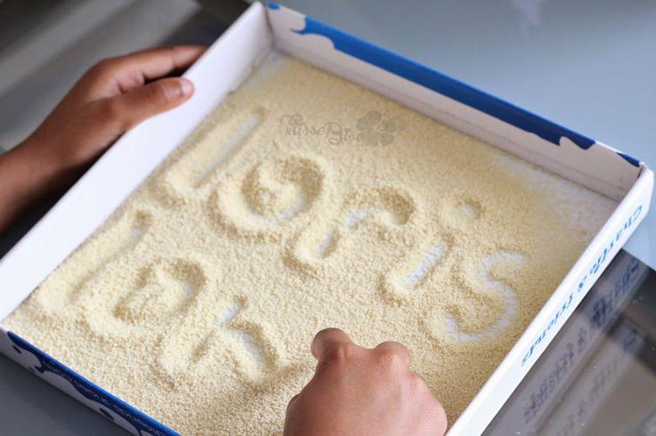 Titisse Biscus: [Activité / Montessori] Apprentissage de l'écriture dans le sable