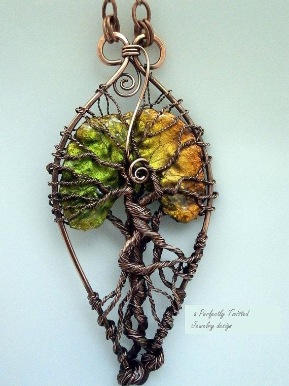Wire Wrapped Tree of Life Pendant Necklace, Lacquered Leaf, One of a Kind, Handmade Wire Jewelry, Antiqued Copper, Wire Tree Jewelry The