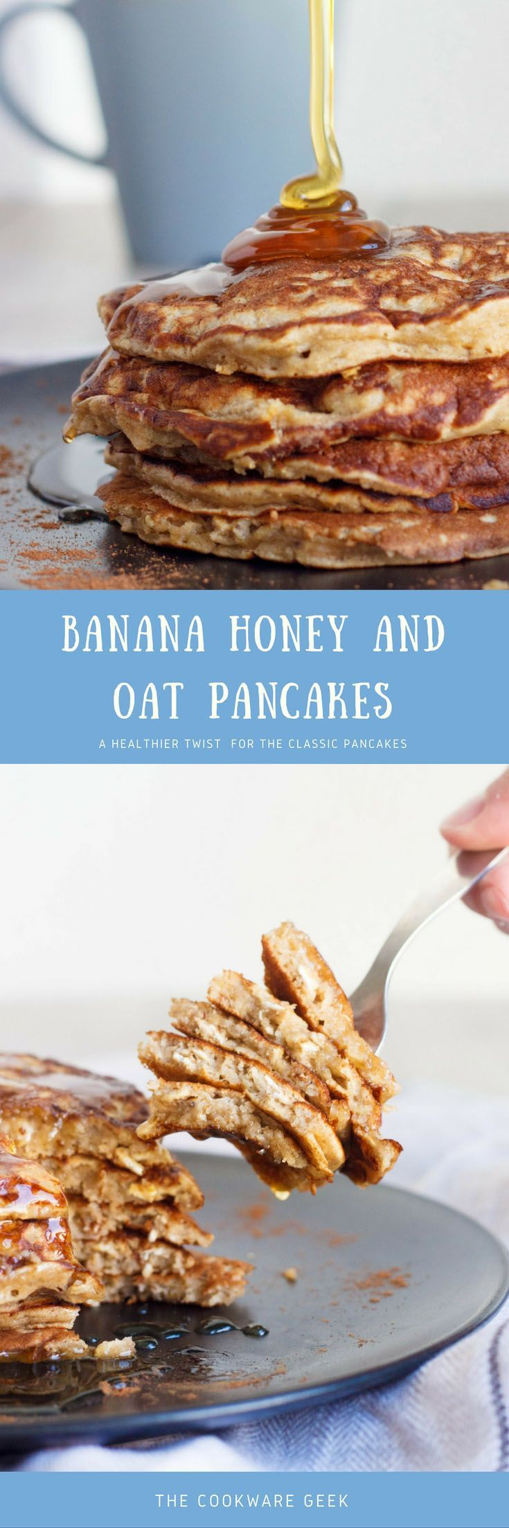 These pancakes are my favorite sweet healthy breakfast. They are really simple but still make me start my day with the right attitude. You can�t have a bad day after eating a pancake tower covered in honey.