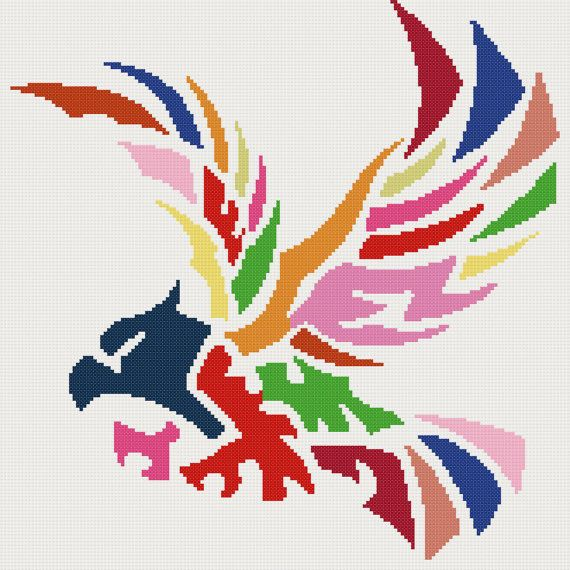 Abstract eagle counted cross stitch kit by YiotasXStitch on Etsy
