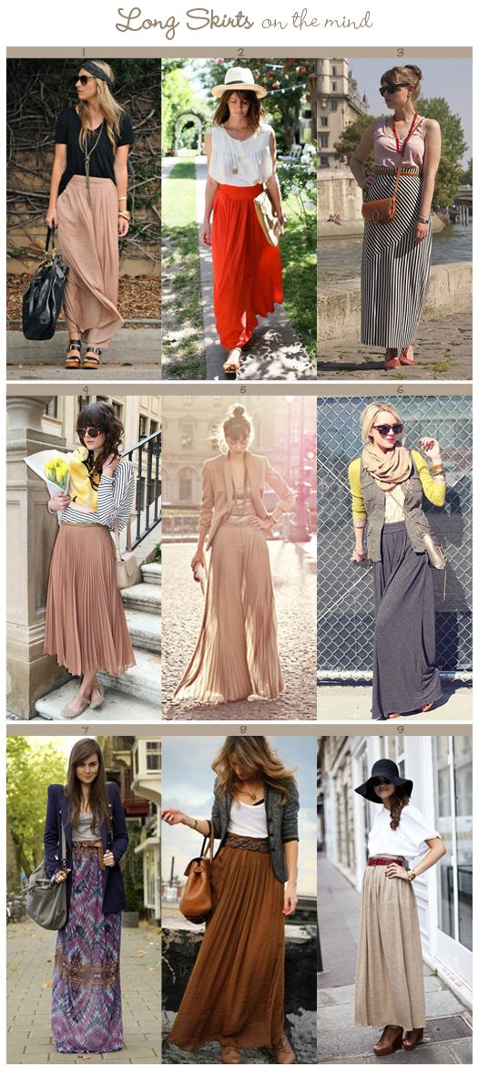 "Maxi skirts and palazzo pants! Modest, stylish clothing that can ""handle it"" as hijab fashion."