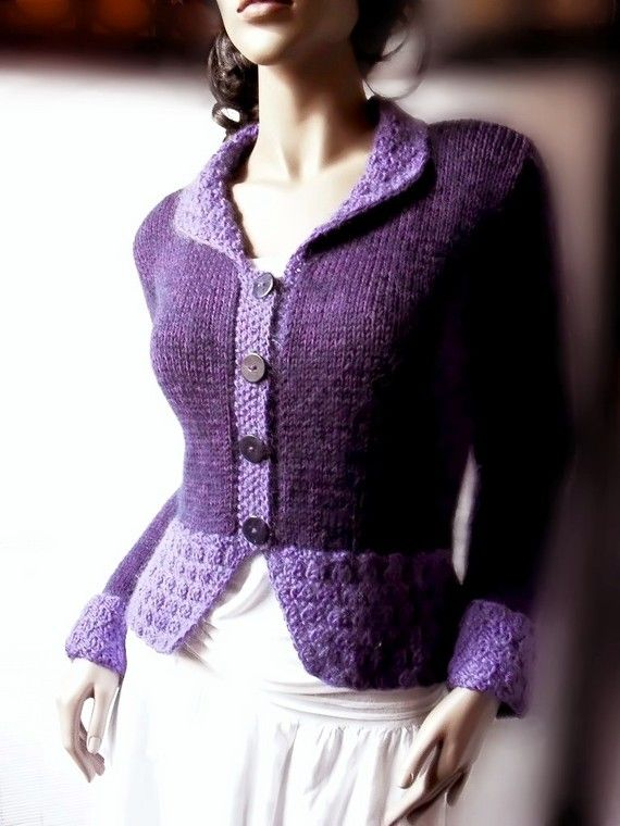 Womens Purple Sweater Jacket, Merino Wool Sweater Cardigan, Many Colors Available