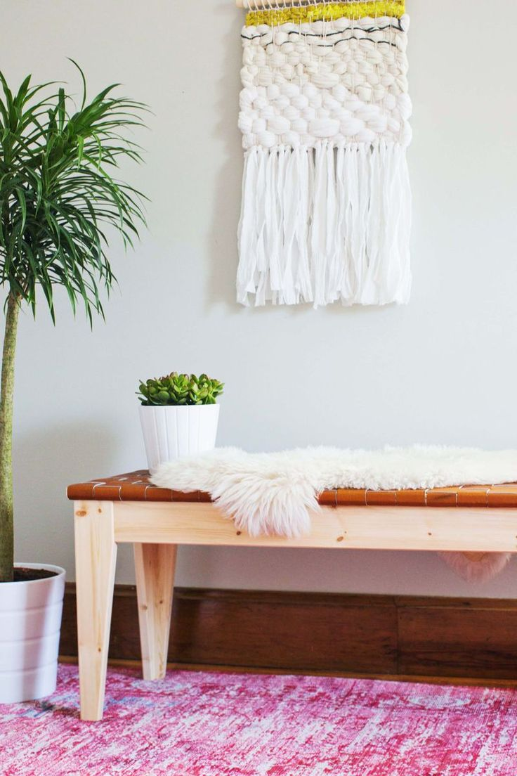 Woven leather bench DIY that is a dream to make yourself. Find the full tutorial for this gorgeous entry way bench or dining room seating over at www.ABeautifulMess.com. Tutorial by Rachel Denbow of Smile and Wave DIY.